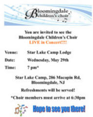 bloomingdale children's choir to perform wednesday night